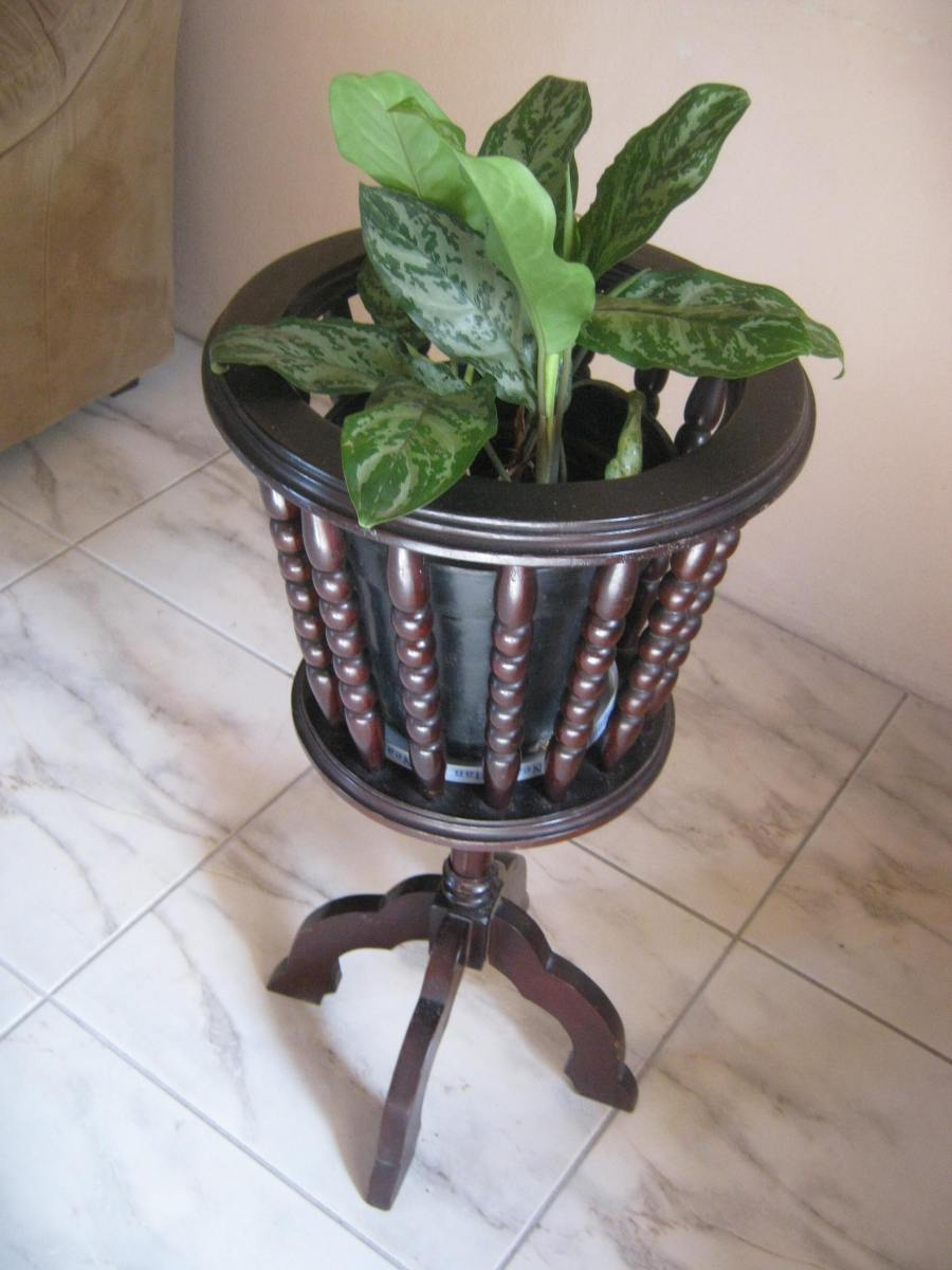 Inlaid Wooden Plant Holder